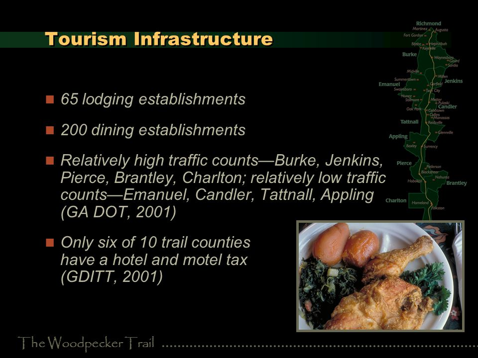 The Woodpecker Trail Tourism Infrastructure 65 lodging establishments 200 dining establishments Relatively high traffic countsBurke, Jenkins, Pierce, Brantley, Charlton; relatively low traffic countsEmanuel, Candler, Tattnall, Appling (GA DOT, 2001) Only six of 10 trail counties have a hotel and motel tax (GDITT, 2001)