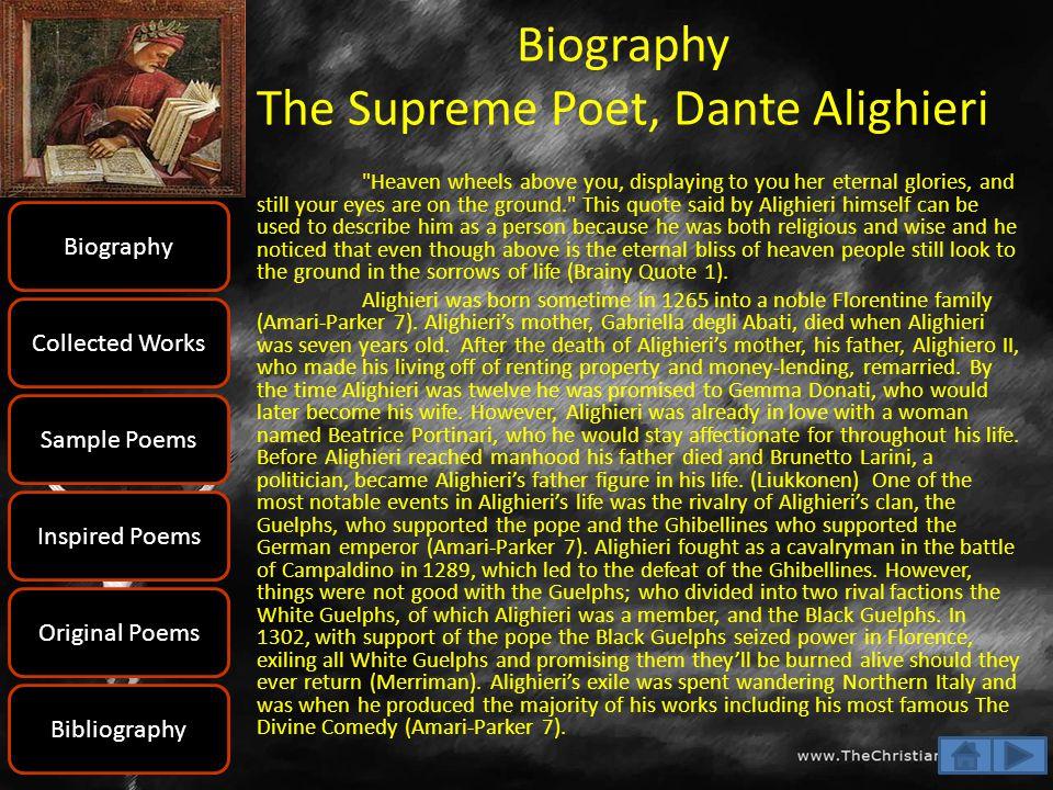 Biography The Supreme Poet, Dante Alighieri