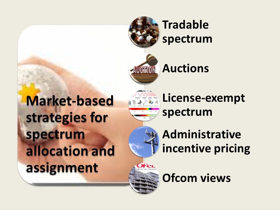 Market-based strategies for spectrum allocation and assignment Tradable spectrum Auctions License-exempt spectrum Administrative incentive pricing Ofc