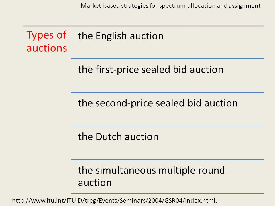 http://www.itu.int/ITU-D/treg/Events/Seminars/2004/GSR04/index.html. Market-based strategies for spectrum allocation and assignment Types of auctions