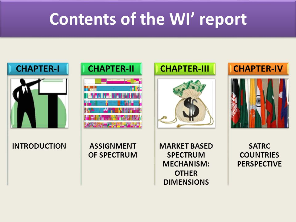 Contents of the WI report INTRODUCTION CHAPTER-I ASSIGNMENT OF SPECTRUM CHAPTER-II MARKET BASED SPECTRUM MECHANISM: OTHER DIMENSIONS CHAPTER-III SATRC