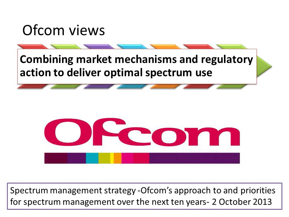 Spectrum management strategy -Ofcoms approach to and priorities for spectrum management over the next ten years- 2 October 2013 Ofcom views Combining