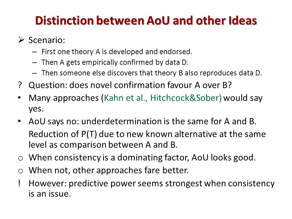 Distinction between AoU and other Ideas Scenario: – First one theory A is developed and endorsed. – Then A gets empirically confirmed by data D. – The