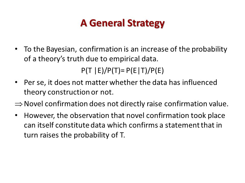 A General Strategy To the Bayesian, confirmation is an increase of the probability of a theorys truth due to empirical data.