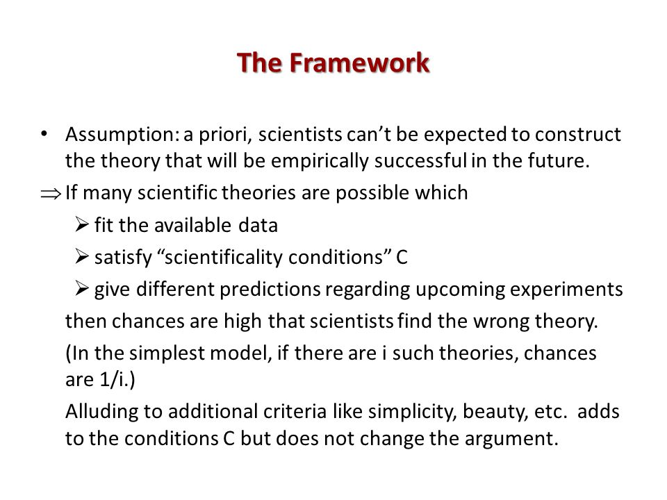 The Framework Assumption: a priori, scientists cant be expected to construct the theory that will be empirically successful in the future.