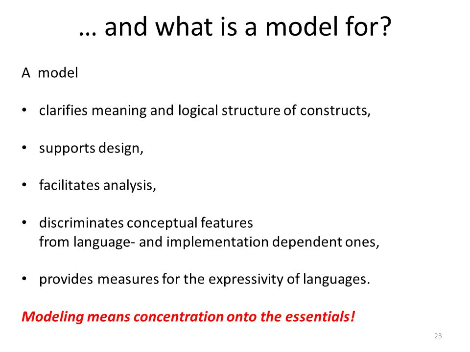 23 … and what is a model for? A model clarifies meaning and logical structure of constructs, supports design, facilitates analysis, discriminates conc