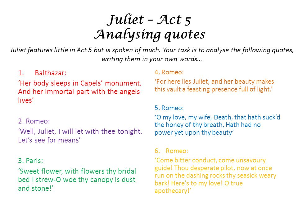 Juliet – Act 5 Analysing quotes 1.Balthazar: Her body sleeps in Capels monument.