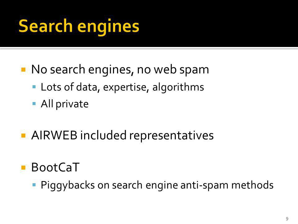 No search engines, no web spam Lots of data, expertise, algorithms All private AIRWEB included representatives BootCaT Piggybacks on search engine anti-spam methods 9