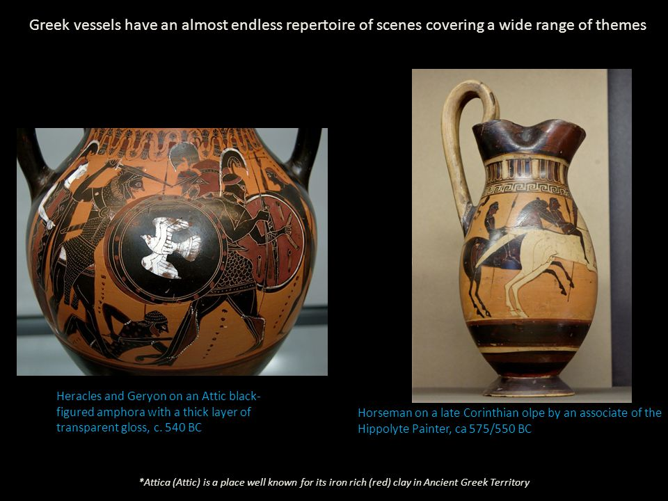 Heracles and Geryon on an Attic black- figured amphora with a thick layer of transparent gloss, c.