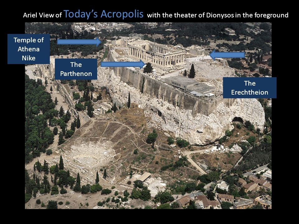 Ariel View of Todays Acropolis with the theater of Dionysos in the foreground Temple of Athena Nike The Parthenon The Erechtheion