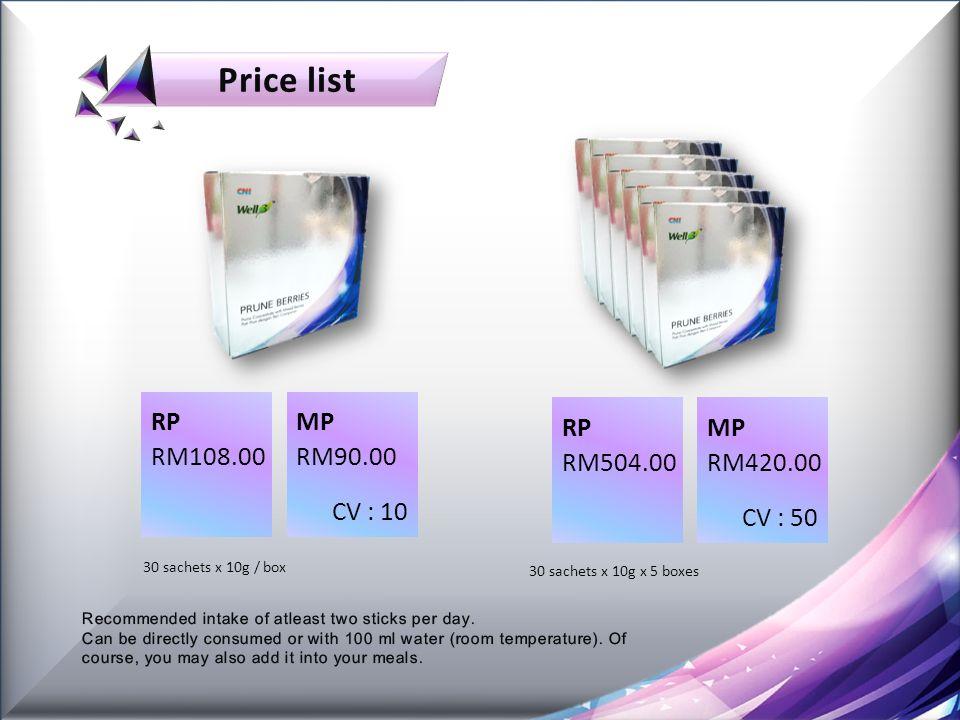 RPMP RM90.00RM108.00 CV : 10 30 sachets x 10g / box RPMP RM420.00RM504.00 CV : 50 30 sachets x 10g x 5 boxes