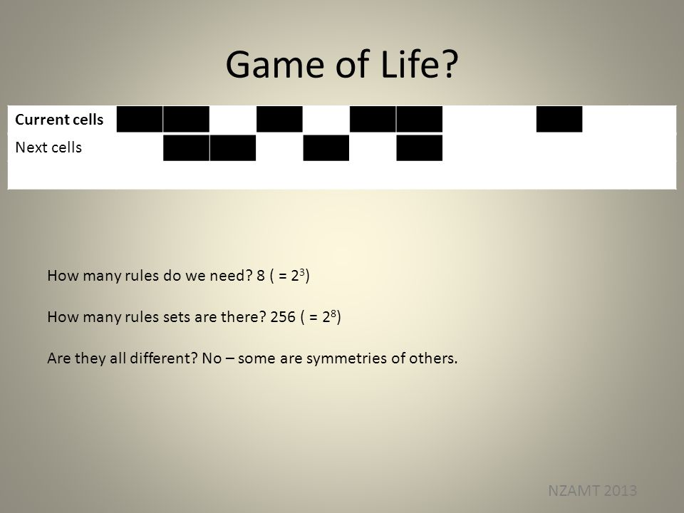 Game of Life? NZAMT 2013 Current cells Next cells How many rules do we need? 8 ( = 2 3 ) How many rules sets are there? 256 ( = 2 8 ) Are they all dif