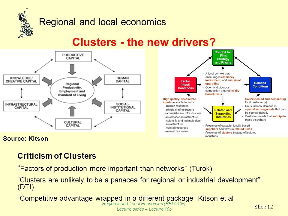 Regional and local economics Slide 12 Clusters - the new drivers.