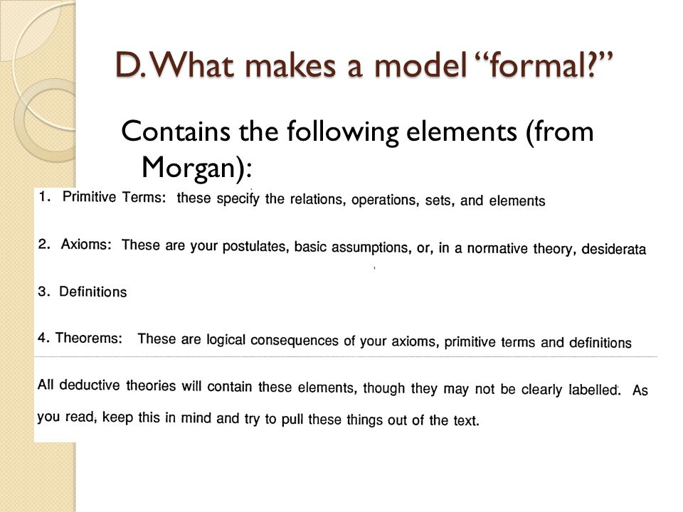 D. What makes a model formal? Contains the following elements (from Morgan):