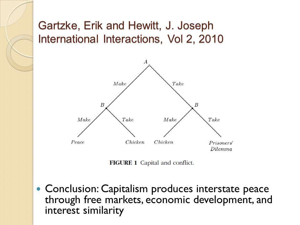 Gartzke, Erik and Hewitt, J. Joseph International Interactions, Vol 2, 2010 Conclusion: Capitalism produces interstate peace through free markets, eco