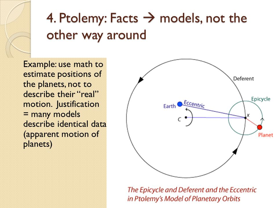 4. Ptolemy: Facts models, not the other way around Example: use math to estimate positions of the planets, not to describe their real motion. Justific