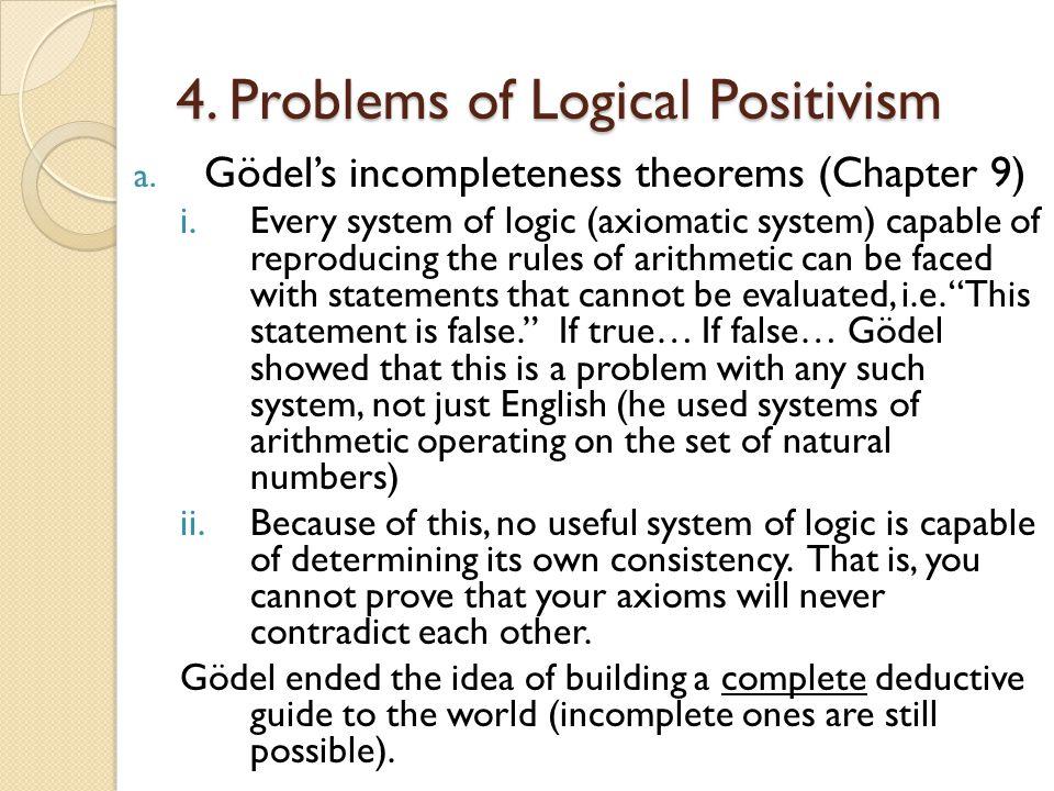 4.Problems of Logical Positivism a.