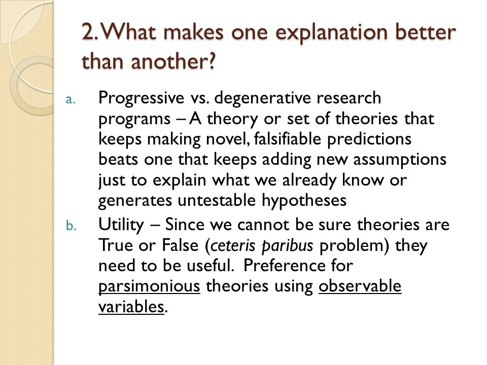 2.What makes one explanation better than another.