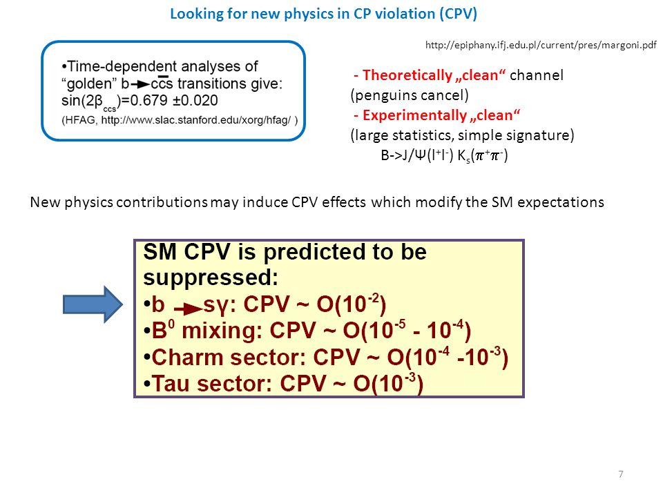 - Theoretically clean channel (penguins cancel) - Experimentally clean (large statistics, simple signature) B->J/Ψ(l + l - ) K s ( + - ) New physics contributions may induce CPV effects which modify the SM expectations Looking for new physics in CP violation (CPV) 7