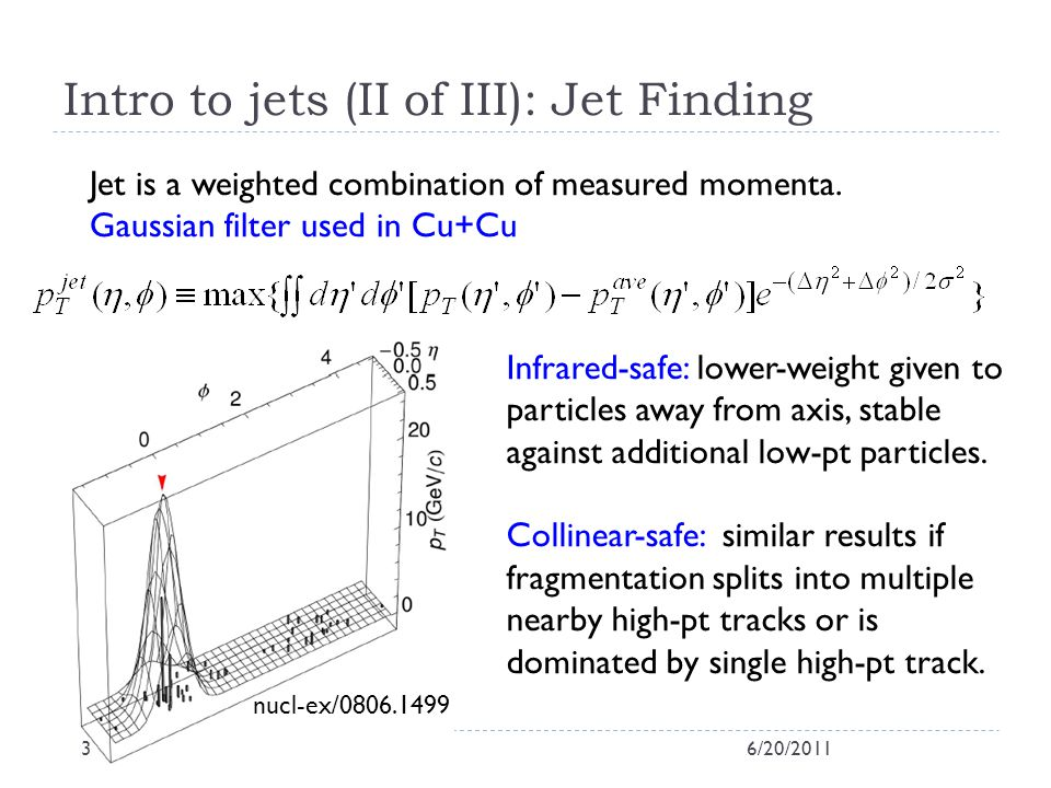 Intro to jets (III of III): Jet Finding Anti-kt algorithm used in d+Au (hep-ph/0802.1189) Successively recombine particles if they are close (inverse pt-weighted) Two values for R: 0.3, 0.5 systematics and insight from using different areas, e.g.