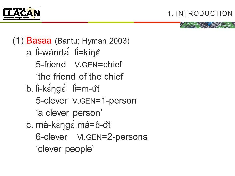 1. INTRODUCTION (1)Basaa (Bantu; Hyman 2003) a.lì-wándálí=kíŋ ɛ̂ 5-friend V.