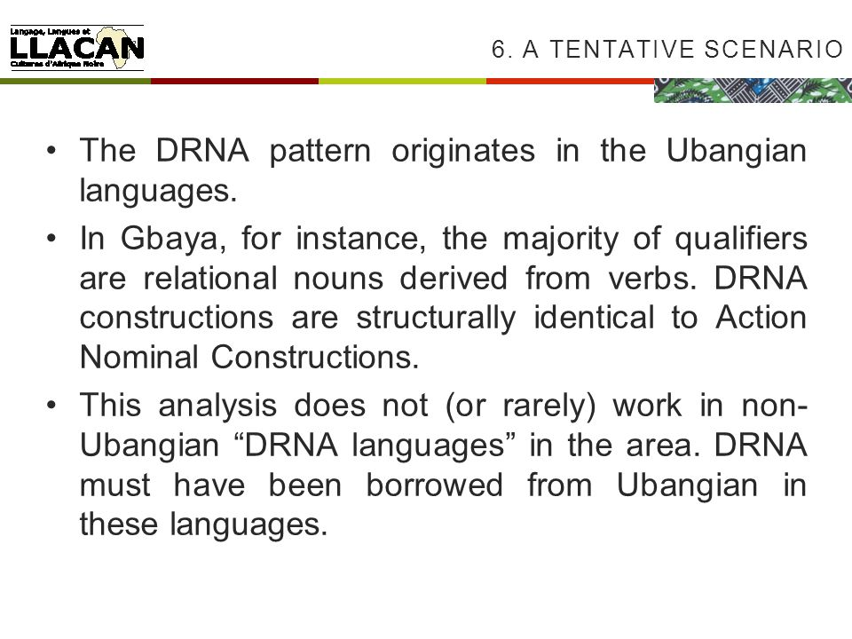 The DRNA pattern originates in the Ubangian languages.