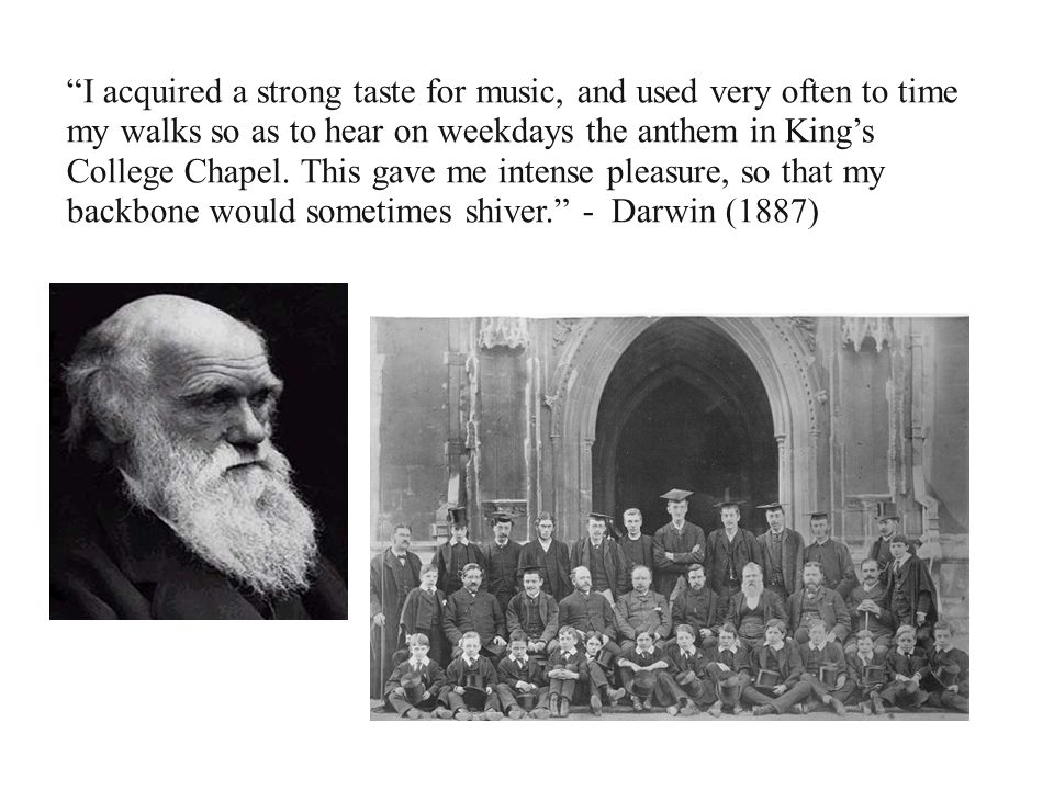 I acquired a strong taste for music, and used very often to time my walks so as to hear on weekdays the anthem in Kings College Chapel. This gave me i