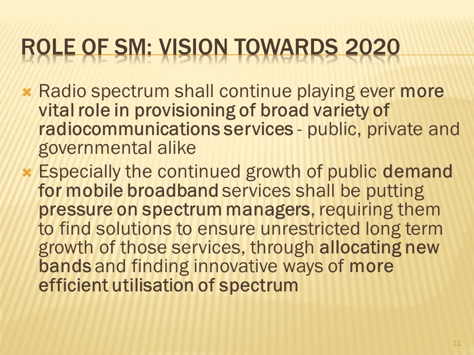Radio spectrum shall continue playing ever more vital role in provisioning of broad variety of radiocommunications services - public, private and gove