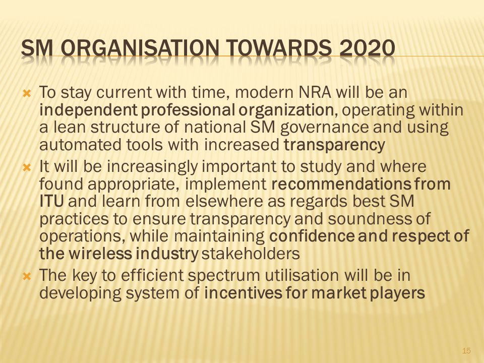To stay current with time, modern NRA will be an independent professional organization, operating within a lean structure of national SM governance an