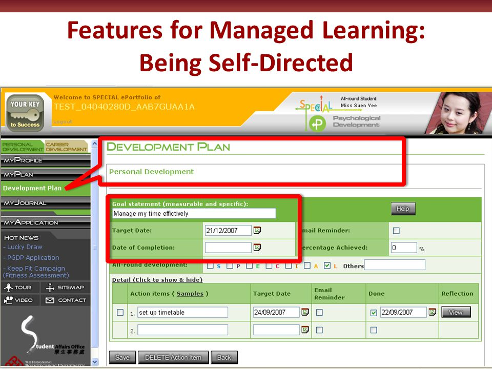 Features for Managed Learning: Being Self-Directed