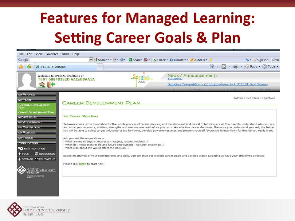 Features for Managed Learning: Setting Career Goals & Plan