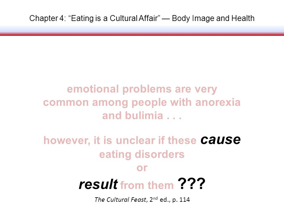 Chapter 4: Eating is a Cultural Affair Body Image and Health emotional problems are very common among people with anorexia and bulimia...