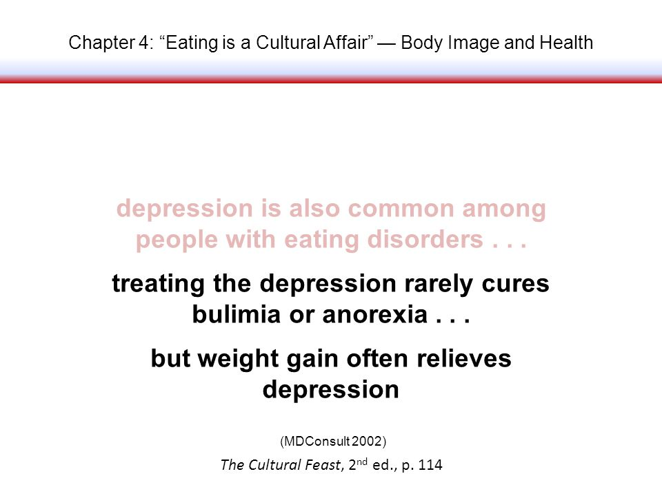 Chapter 4: Eating is a Cultural Affair Body Image and Health depression is also common among people with eating disorders...