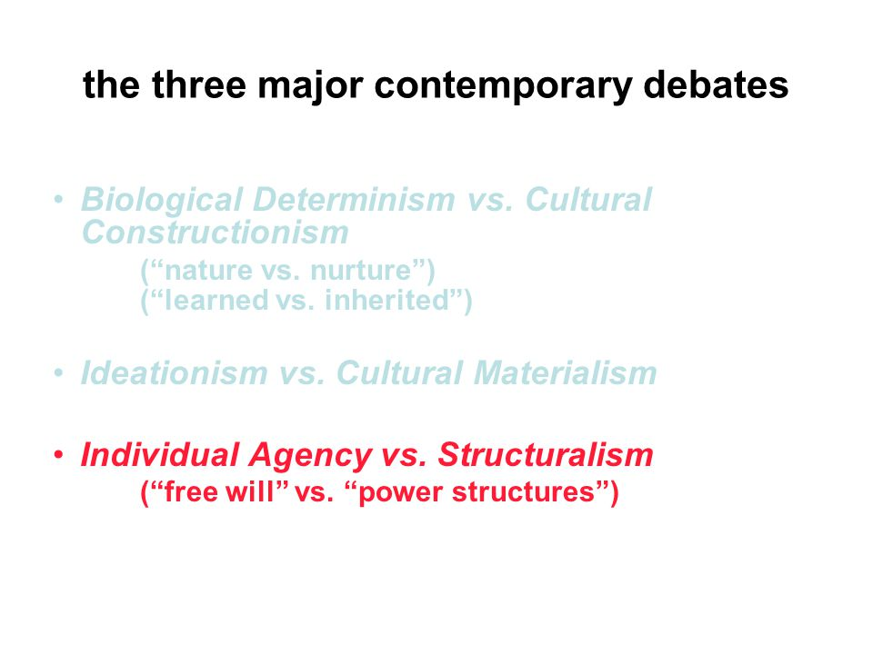 the three major contemporary debates Biological Determinism vs.