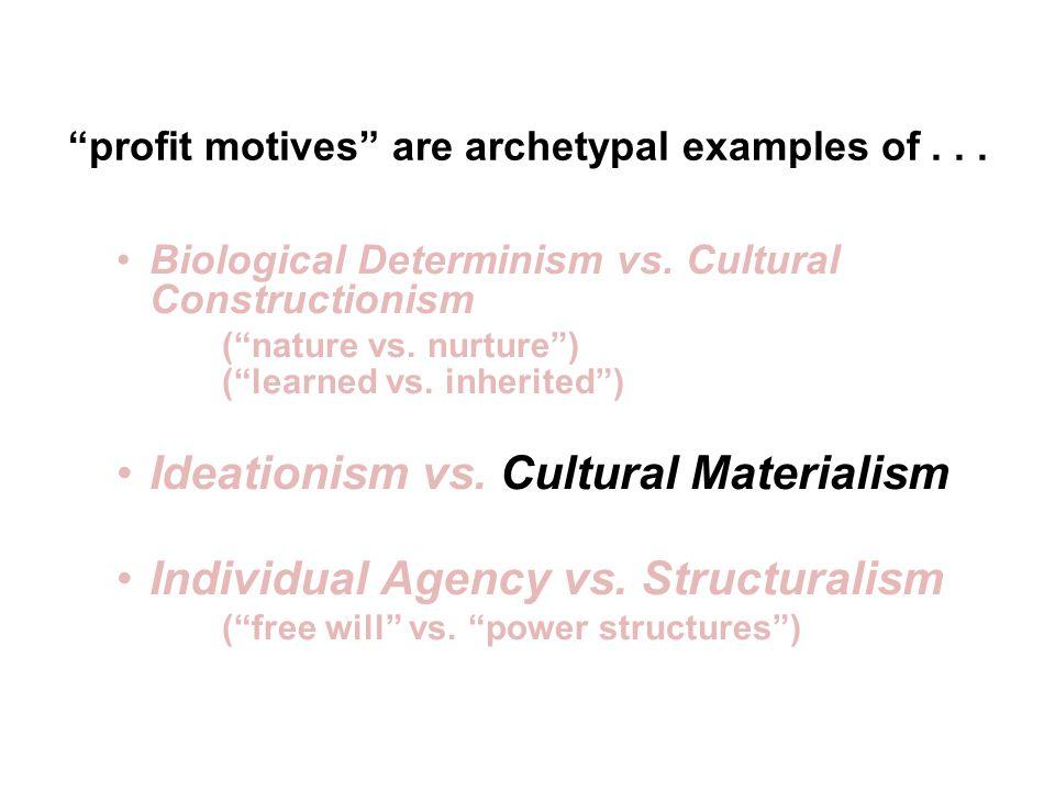 Biological Determinism vs. Cultural Constructionism (nature vs.