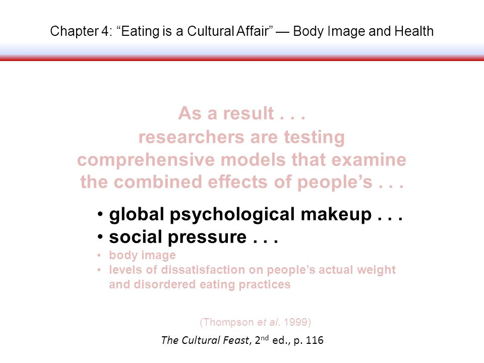 Chapter 4: Eating is a Cultural Affair Body Image and Health As a result...