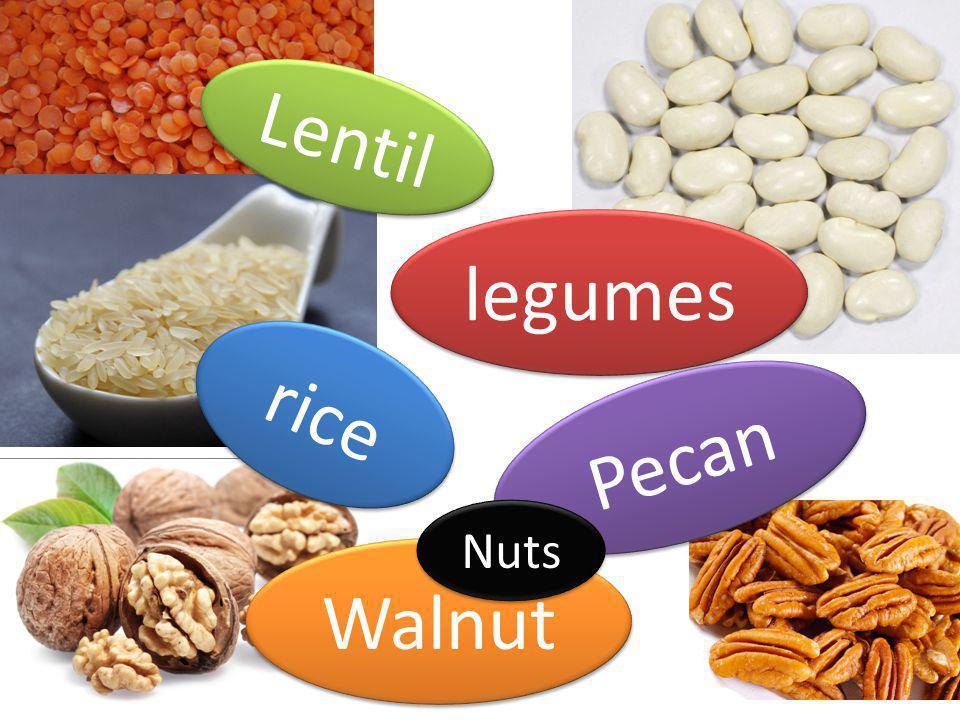 legumes Lentil rice Walnut Pecan Nuts
