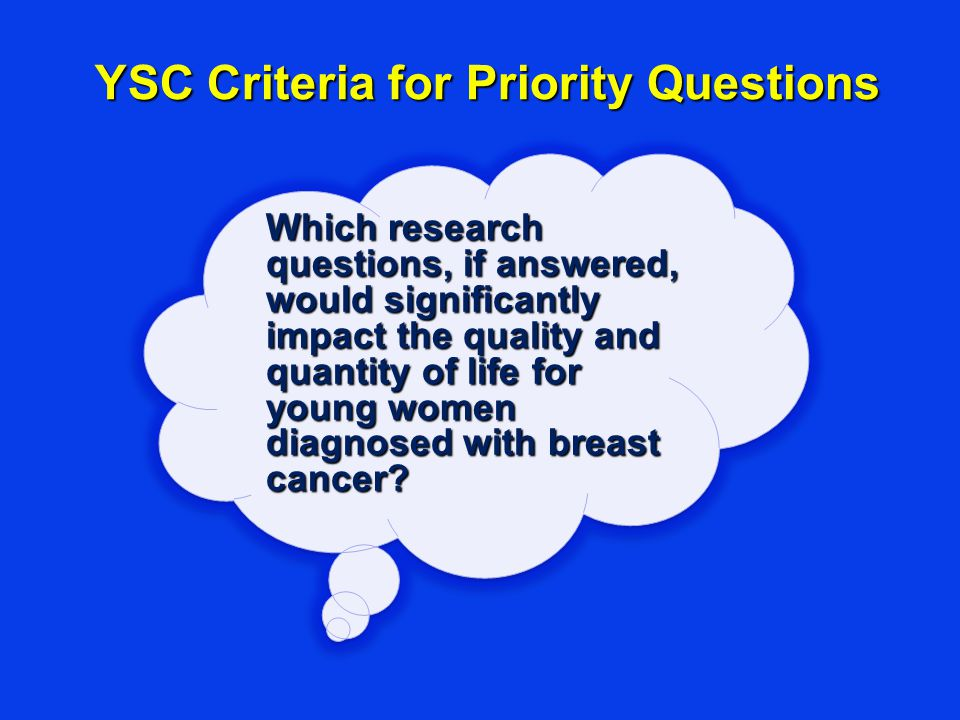 YSC Criteria for Priority Questions Which research questions, if answered, would significantly impact the quality and quantity of life for young women