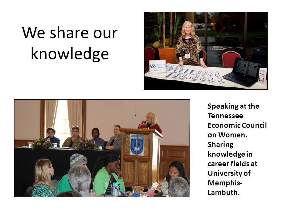 We share our knowledge Speaking at the Tennessee Economic Council on Women.