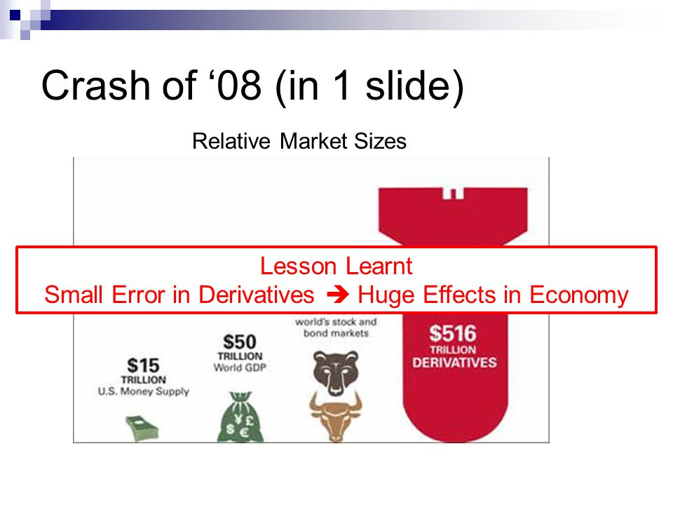 Crash of 08 (in 1 slide) Relative Market Sizes Lesson Learnt Small Error in Derivatives Huge Effects in Economy
