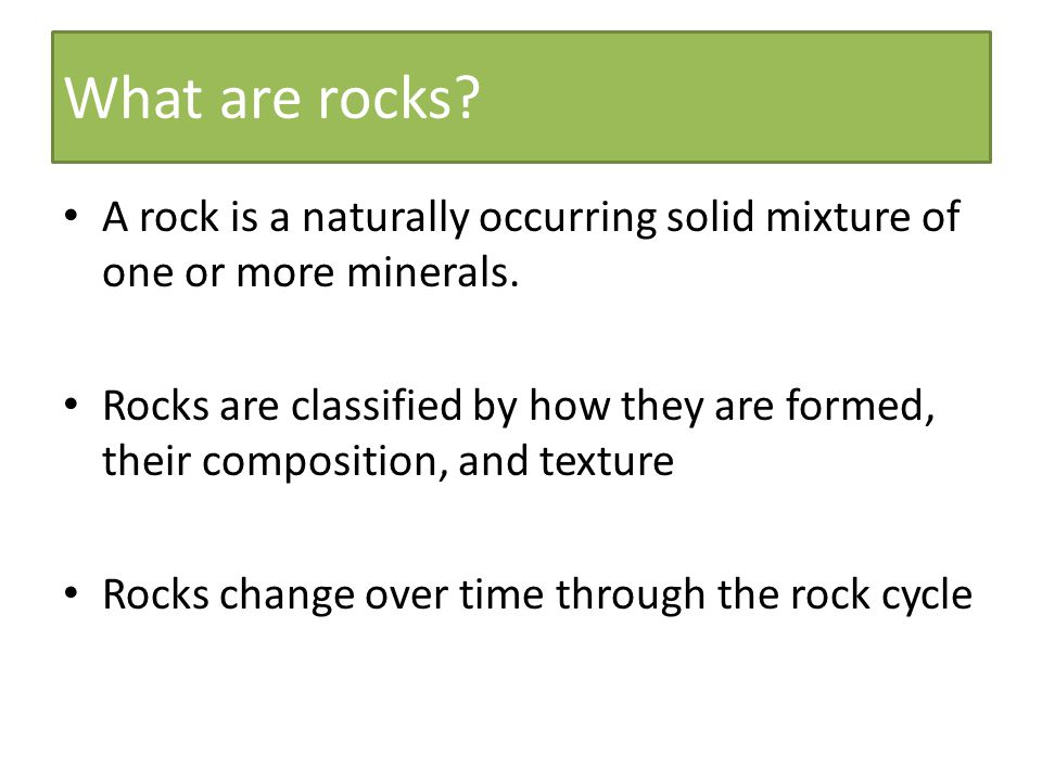 2.NON-CLASTIC Minerals crystallize out of solution to become rock e.g.