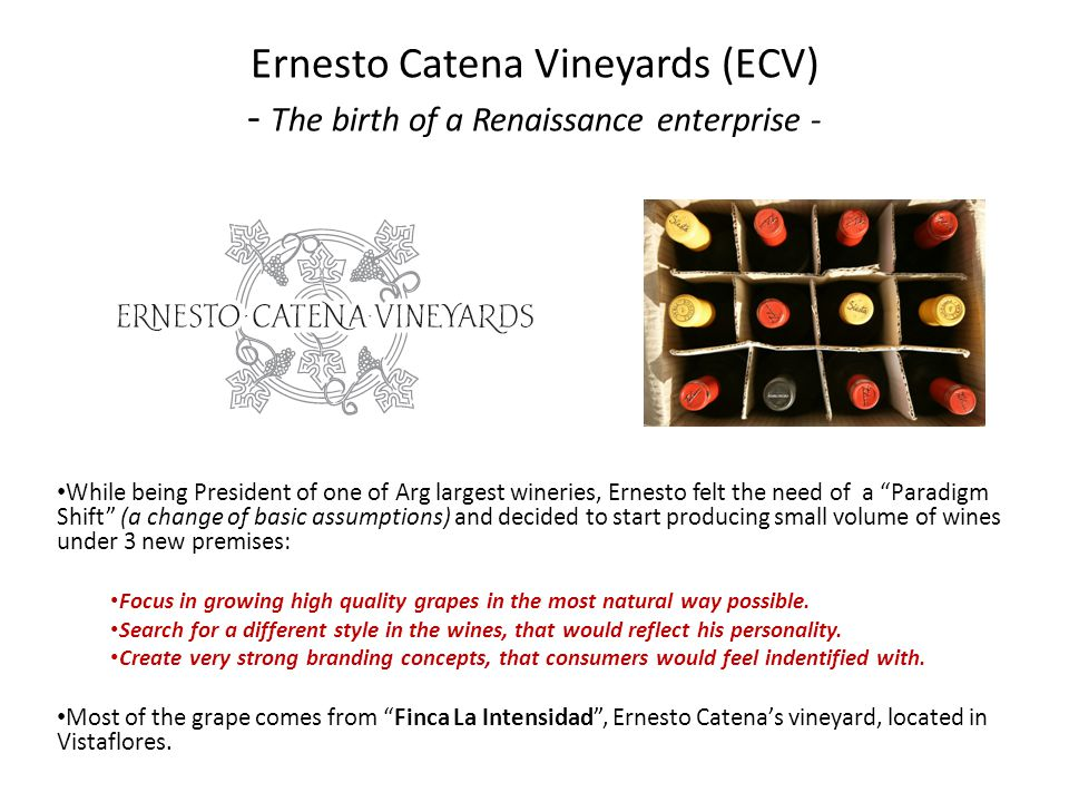 While being President of one of Arg largest wineries, Ernesto felt the need of a Paradigm Shift (a change of basic assumptions) and decided to start p