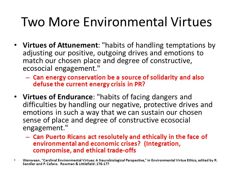 Two More Environmental Virtues Virtues of Attunement: