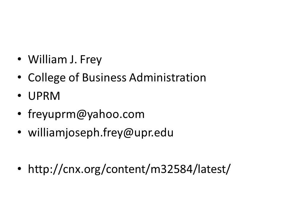 William J. Frey College of Business Administration UPRM freyuprm@yahoo.com williamjoseph.frey@upr.edu http://cnx.org/content/m32584/latest/