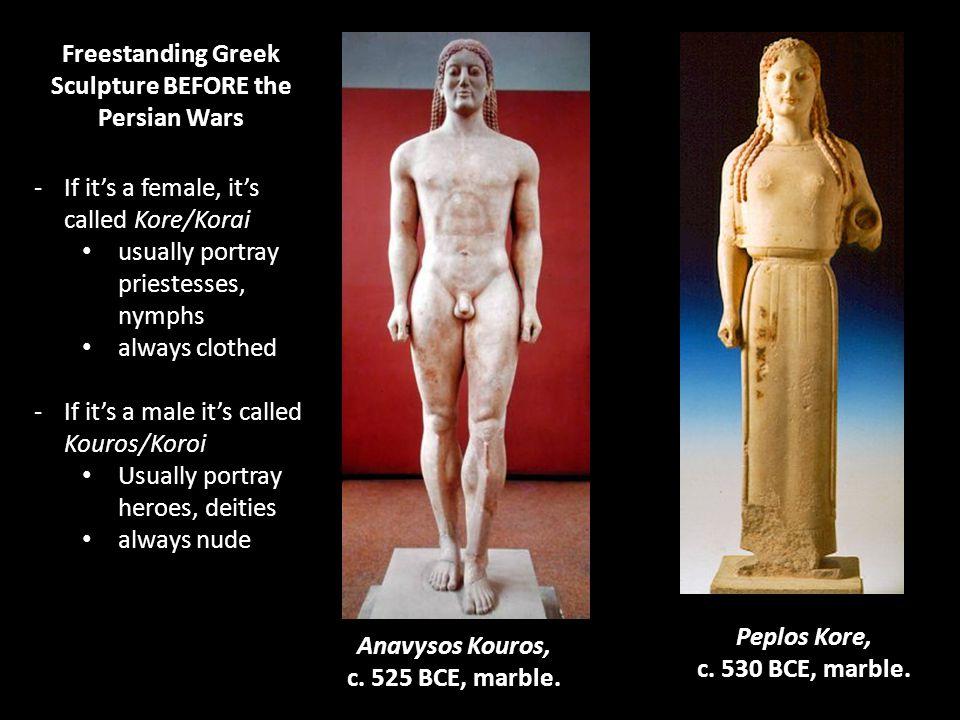Anavysos Kouros, c. 525 BCE, marble.