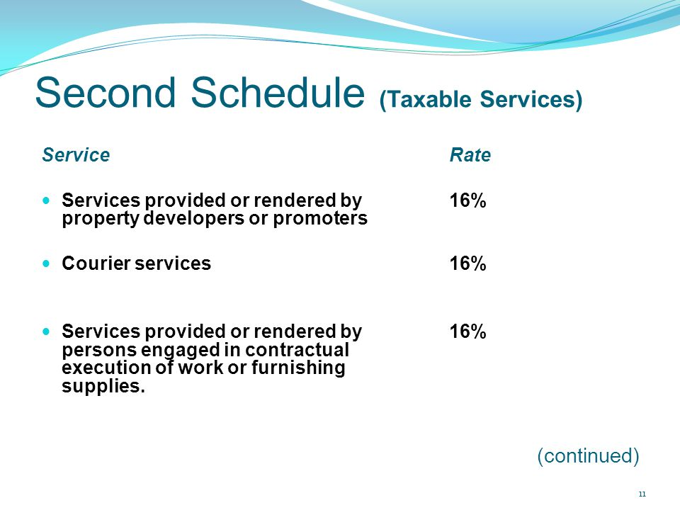 Second Schedule (Taxable Services) ServiceRate Services provided or rendered by 16% property developers or promoters Courier services 16% Services pro