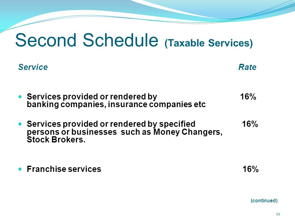 Second Schedule (Taxable Services) Service Rate Services provided or rendered by 16% banking companies, insurance companies etc Services provided or r