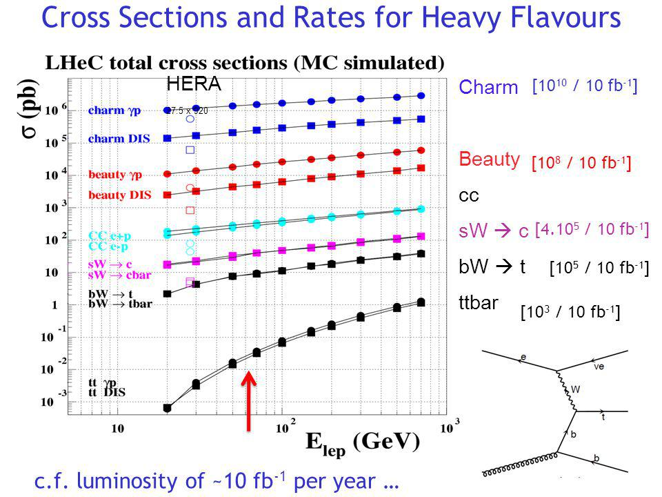Cross Sections and Rates for Heavy Flavours HERA 27.5 x 920 Charm Beauty cc sW c bW t ttbar c.f. luminosity of ~10 fb -1 per year … [10 10 / 10 fb -1
