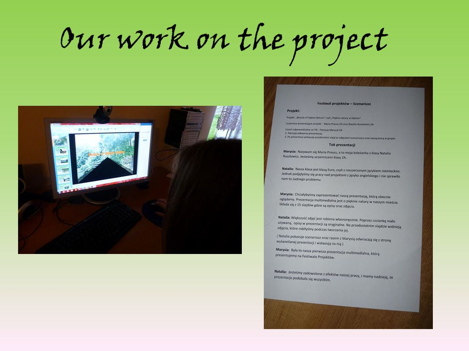 Our work on the project