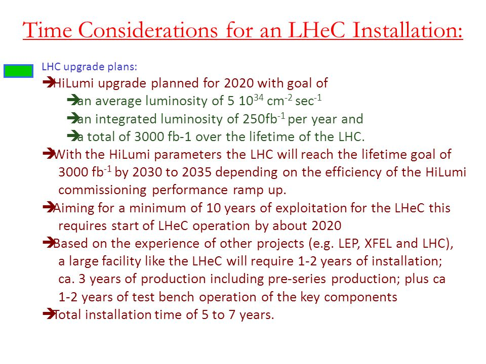 Time Considerations for an LHeC Installation: LHC upgrade plans: HiLumi upgrade planned for 2020 with goal of an average luminosity of 5 10 34 cm -2 s